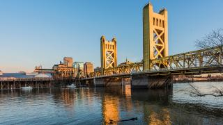 sacramento cityscape with bridge